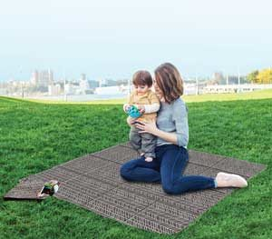 mother and son picnicking