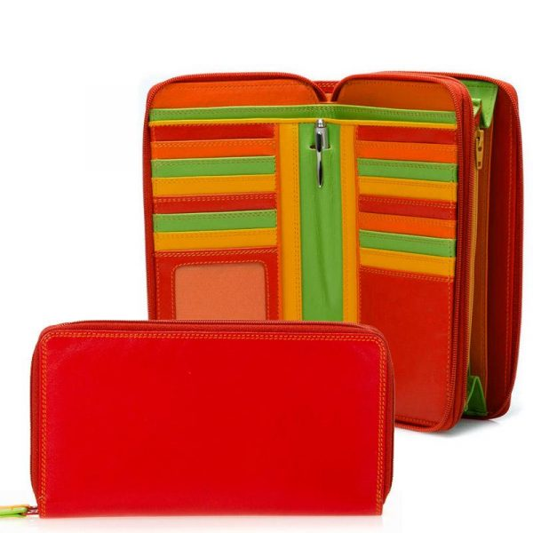 red double zip purse
