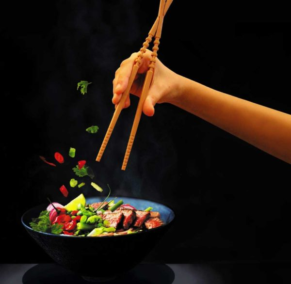 chopsticks and bowl of food