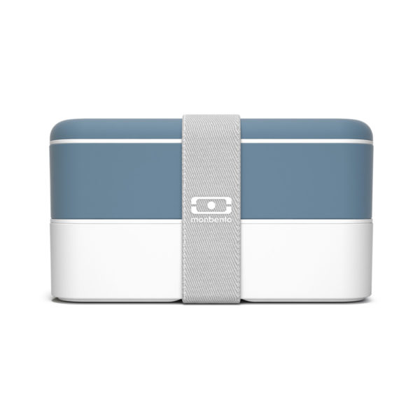 blue and white lunchbox