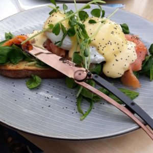 copper steak knife brunch